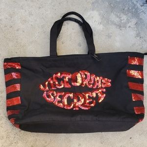 NWT Victoria's Secret Black Tote Bag w/Red Sequins